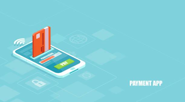 stockillustraties, clipart, cartoons en iconen met vector van een betaling wordt verwerkt met behulp van een credit card op smartphone via een financiële app - mobiele betaling