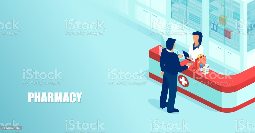 Vector of a pharmacist selling prescription drugs to a patient in drugstore - arte vettoriale royalty-free di Accudire