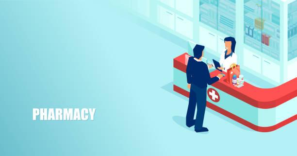 illustrazioni stock, clip art, cartoni animati e icone di tendenza di vettore di un farmacista che vende farmaci soggetti a prescrizione medica a un paziente in farmacia - farmacia