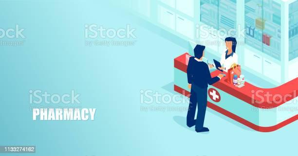 Vector Of A Pharmacist Selling Prescription Drugs To A Patient In Drugstore - Arte vetorial de stock e mais imagens de Adulto