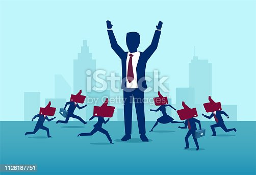 Influencer marketing and leadership concept. Vector of a powerful, successful buisnessman being liked by busy crowd of people