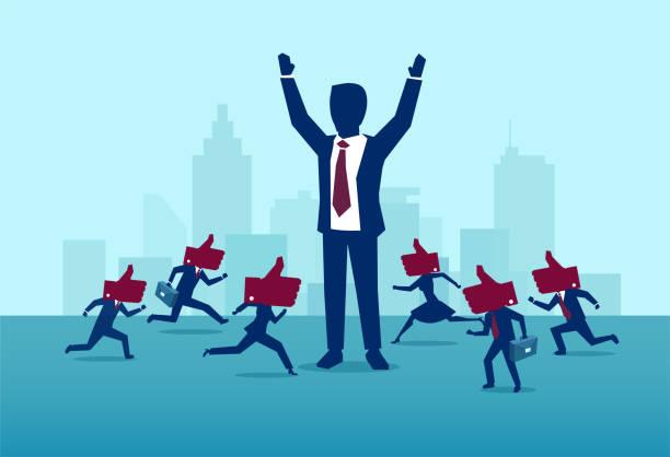 一個強大的, 成功的 buisnessman 的向量被忙碌的人群喜歡 - 政治 幅插畫檔、美工圖案、卡通及圖標