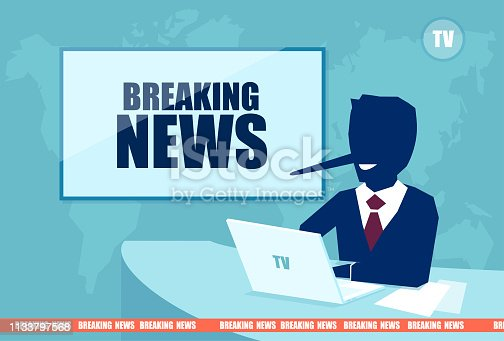 Fake and breaking news concept. Vector of a presenter with a long liar nose reporting false media information on television