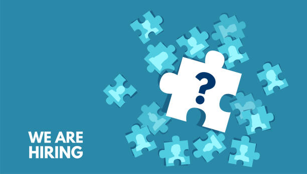 Vector of a puzzle with question mark element. Job candidate seeking concept. Vector of a puzzle with question mark element. Job candidate seeking concept. candidate stock illustrations