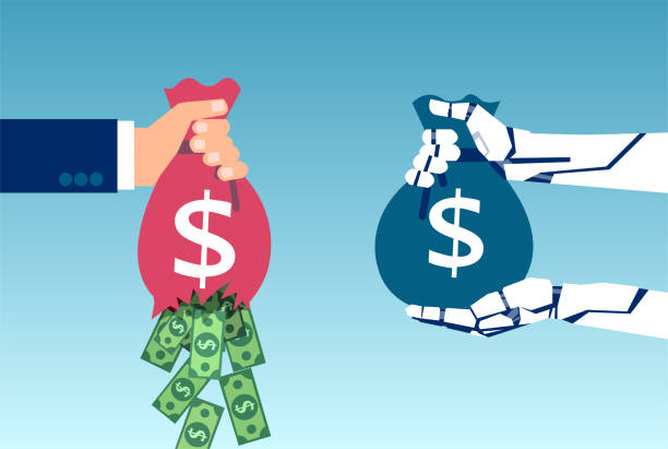 Vector of a robot hand holding sack of money and businessman loosing profit due to inefficient management AI and business savings concept. Vector of a robot hand holding sack of money and businessman loosing profit due to inefficient management loss stock illustrations