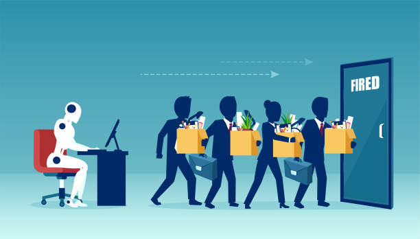 vector of a robot manager replacing businesspeople being fired - unemployment stock illustrations