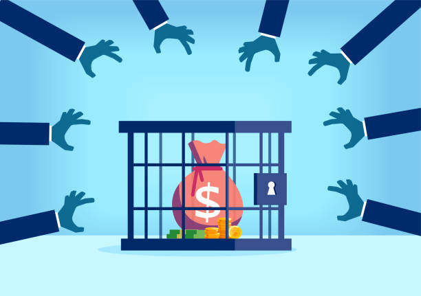 Vector of a sack of money with dollar sign desired by many people being trapped inside a locked cage Vector of a sack of money with dollar sign desired by many people being trapped inside a locked cage bailout stock illustrations