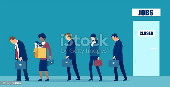 Vector of a sad group of people fired from job due to business closure