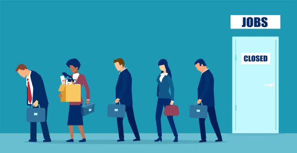 vector of a sad group of people fired from job due to business closure - unemployment stock illustrations