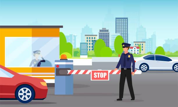 illustrations, cliparts, dessins animés et icônes de vecteur d'un homme de sécurité et des voitures de contrôle de barrière passant au stationnement de bureau d'entreprise - bureau police