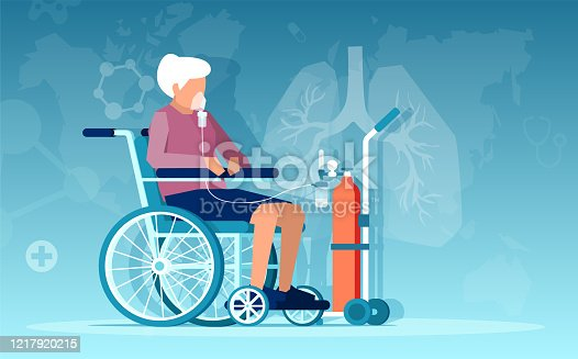 Vector of a senior woman sitting in wheelchair having respiratory difficulties on oxygen therapy