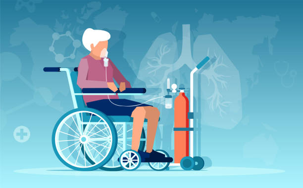 Vector of a senior woman sitting in wheelchair having respiratory difficulties on oxygen therapy Vector of a senior woman sitting in wheelchair having respiratory difficulties on oxygen therapy oxygen mask stock illustrations