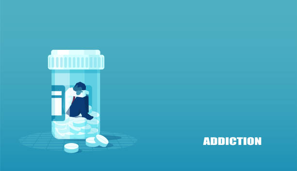 illustrazioni stock, clip art, cartoni animati e icone di tendenza di vector of a sick sad patient man in depression drowning in medications sitting inside a bottle. - antidolorifico