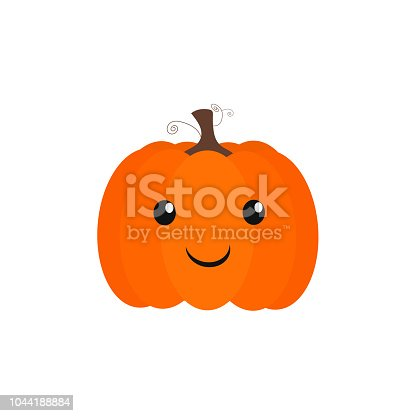 istock Vector of a simple pumpkin with happy and childish face. 1044188884