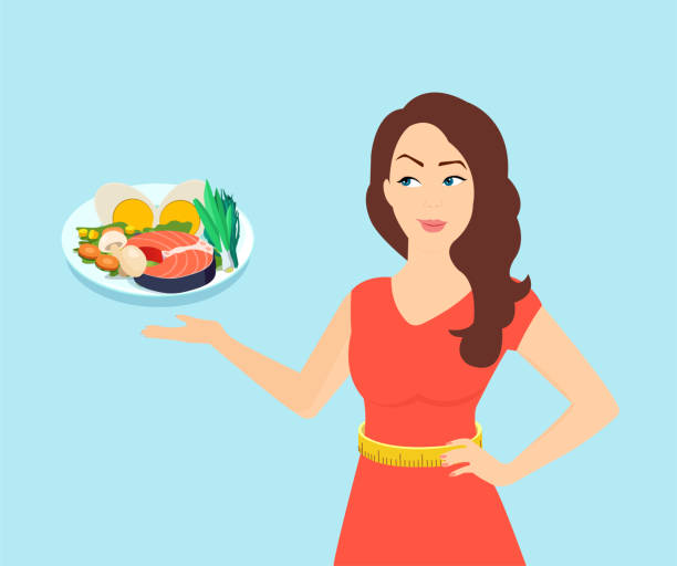 ilustrações de stock, clip art, desenhos animados e ícones de vector of a slim beautiful woman offering a healthy diet choice - woman eating salmon
