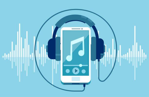 wektor smartfona i słuchawek - muzyka stock illustrations