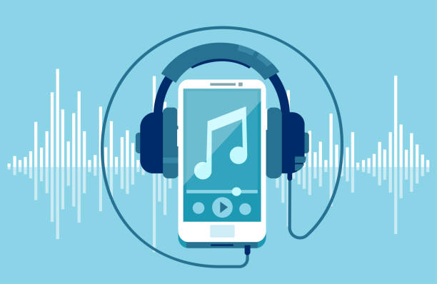 Vector of a smart phone and headphones Vector of a smart phone and headphones on a equalizer blue background music stock illustrations