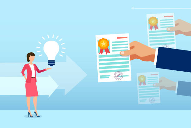 Vector of a smart woman is innovative ideas receiving multiple certificates Vector of a smart woman is innovative ideas receiving multiple certificates receiving stock illustrations