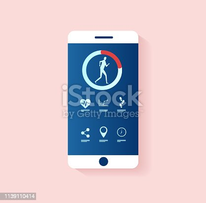 Fitness tracker app concept. Vector of a smartphone with healthy lifestyle applications