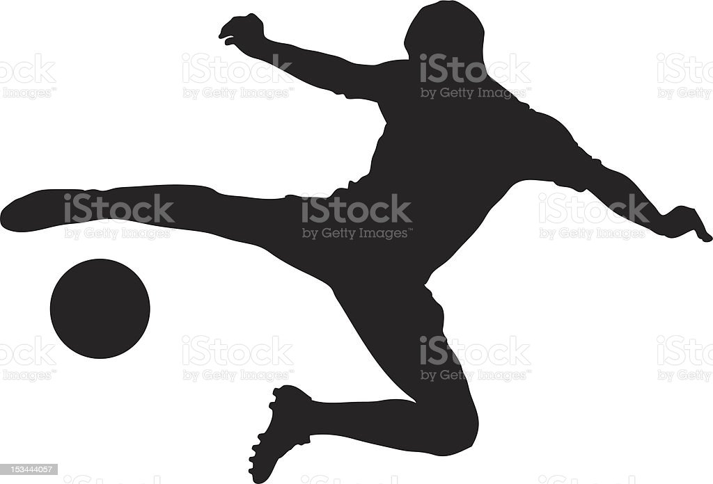 Vector of a soccer player shooting ball vector art illustration