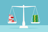 Value of education concept. Vector of a stack of books on a scale balancing pile of dollar cash