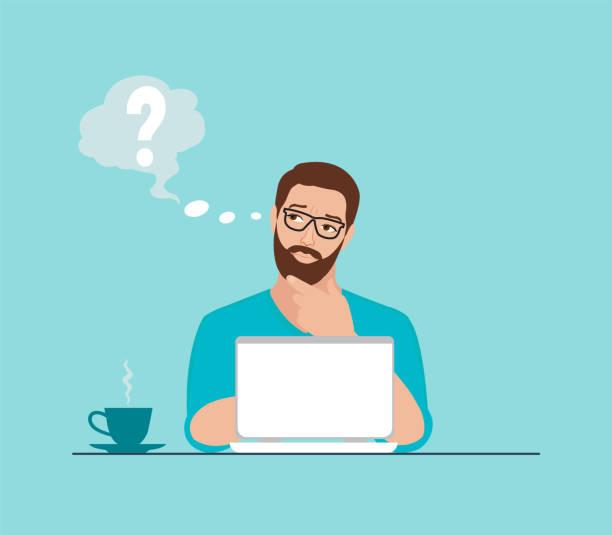 stockillustraties, clipart, cartoons en iconen met vector van een doordachte jonge man werken aan laptop op de werkplek met enkele vragen - beschouwing