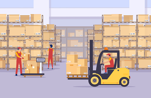 Vector Of A Warehouse With Boxes And Employees Managing Goods Stock  Illustration - Download Image Now - iStock