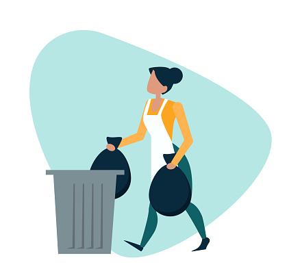 Vector of a woman throwing away garbage into a trash bin.