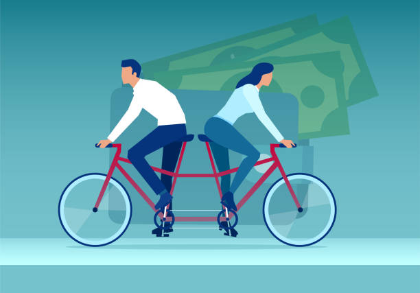Vector of a young couple woman and man riding tandem bicycle in different directions ona background of a wallet Vector of a young couple woman and man riding tandem bicycle in different directions ona background of a wallet alimony stock illustrations