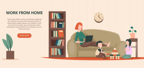 vector of a young woman, a mother sitting on sofa with laptop working from home - single mother stock illustrations