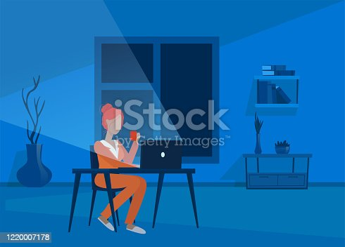 istock Vector of a young woman working in her apartment at night, sitting at her desk using laptop computer. 1220007178