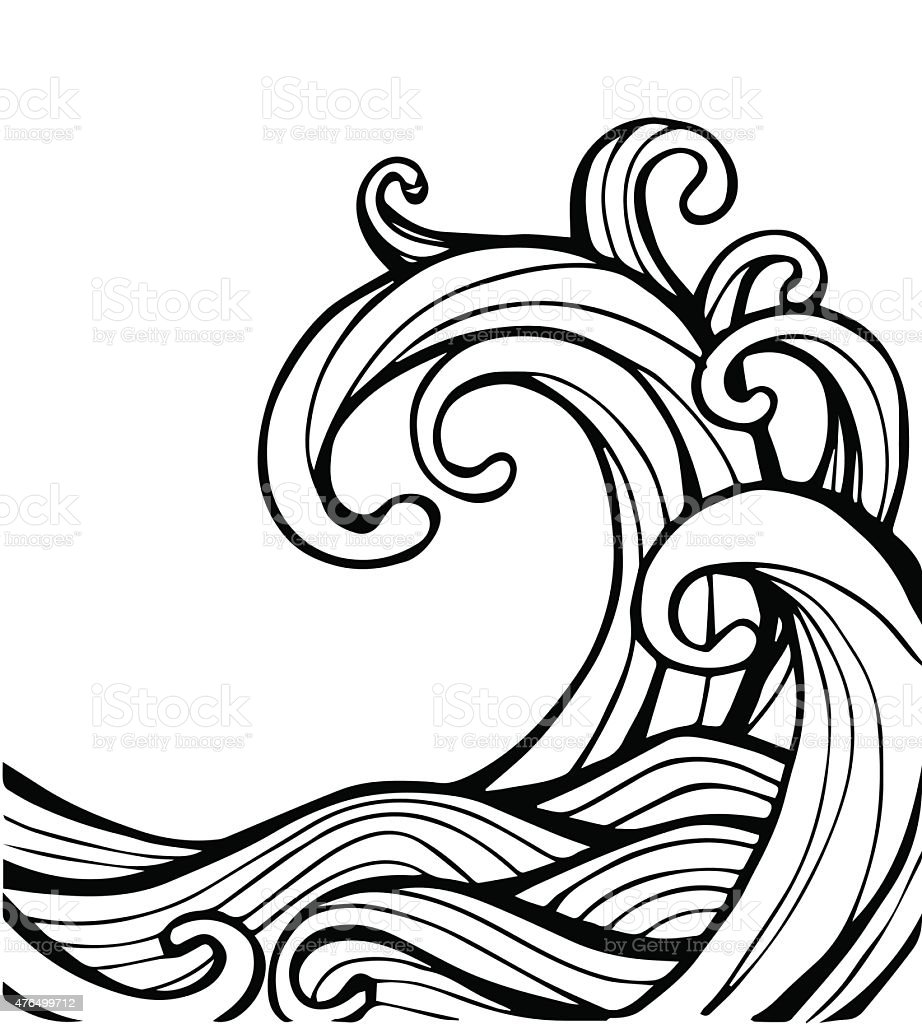 Vector of Abstract Wave in black and white vector art illustration