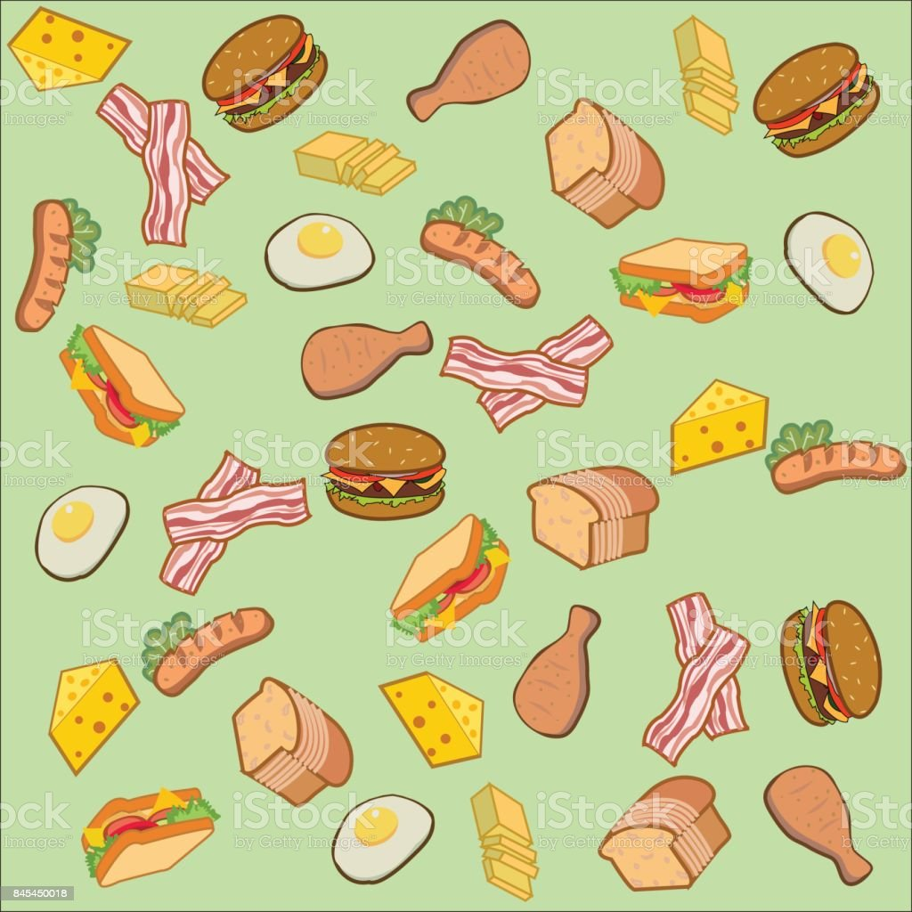 Vector Of American Food And Breakfast In Cartoon Style For