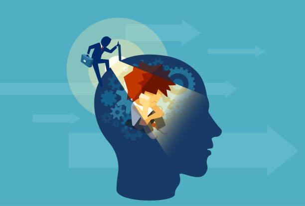 ilustraciones, imágenes clip art, dibujos animados e iconos de stock de vector de un hombre adulto de negocios apertura de una cabeza humana con una mente subconsciente del niño sentado dentro - profesional de salud mental