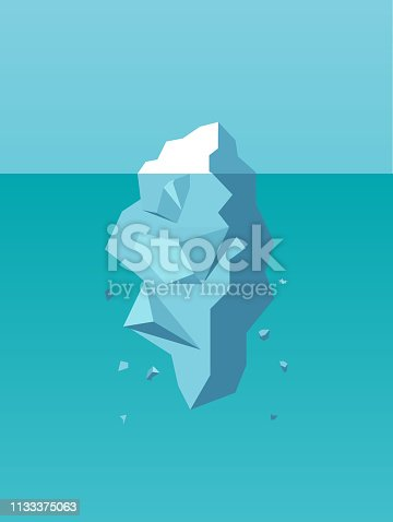 Vector of an iceberg as a symbol of business risk, danger and challenge