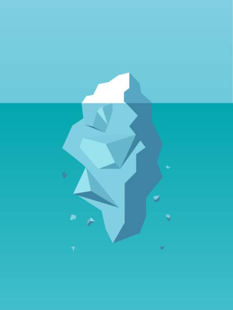 ilustrações de stock, clip art, desenhos animados e ícones de vector of an iceberg as a symbol of business risk, danger, challenge - iceberg