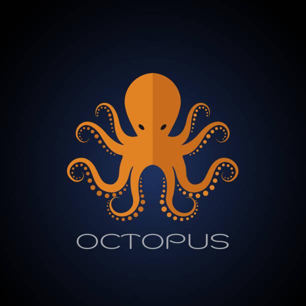 vector of an octopus design on dark blue background. aquatic animals. - octopus stock illustrations