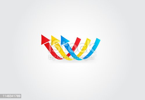 Arrows in motion modern icon logo design web template image