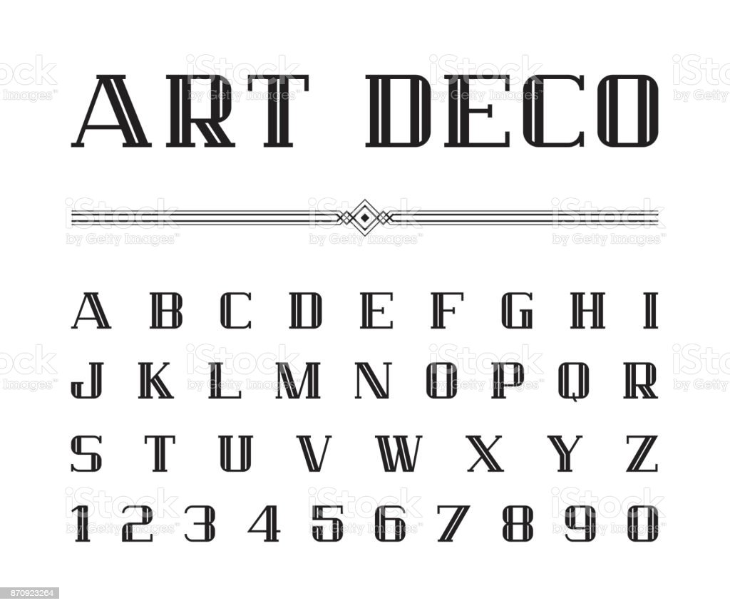 Vetor de fonte de Art Deco e alfabeto, Blod conjunto de cartas. O grande Gatsby estilo - ilustração de arte em vetor