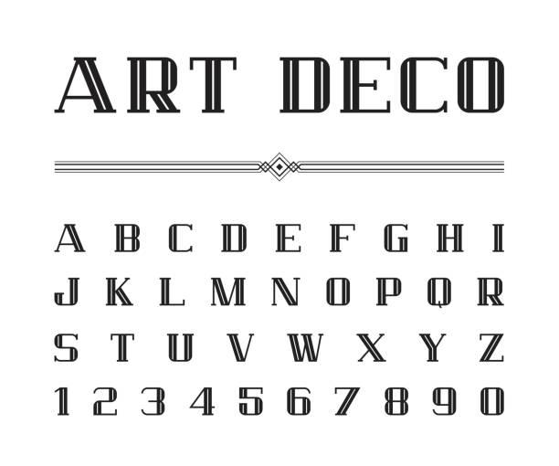 ilustrações, clipart, desenhos animados e ícones de vetor de fonte de art deco e alfabeto, blod conjunto de cartas. o grande gatsby estilo - fontes e tipografia