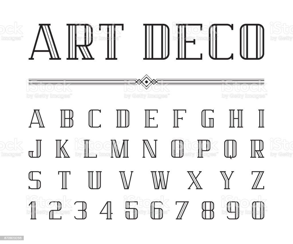 Vetor de Arte Deco font e alfabeto, letras de condensado definido. O grande Gatsby estilo - ilustração de arte em vetor