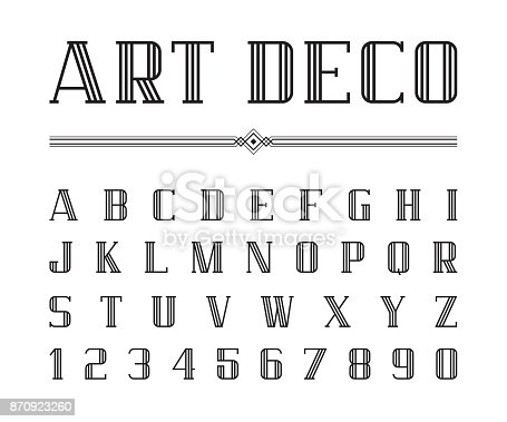 Vector Of Art Deco Font And Alphabet Condensed Letters Set