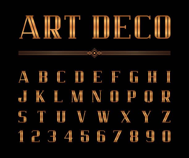 ilustrações, clipart, desenhos animados e ícones de vetor de arte deco font e alfabeto, letras de condensado definido. o grande gatsby estilo - fontes e tipografia