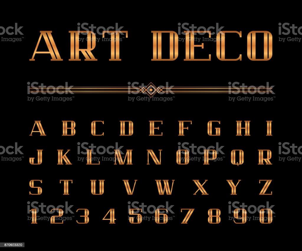Conjunto de vetor da fonte de Art Deco e alfabeto, letras de ouro. O grande Gatsby estilo - ilustração de arte em vetor