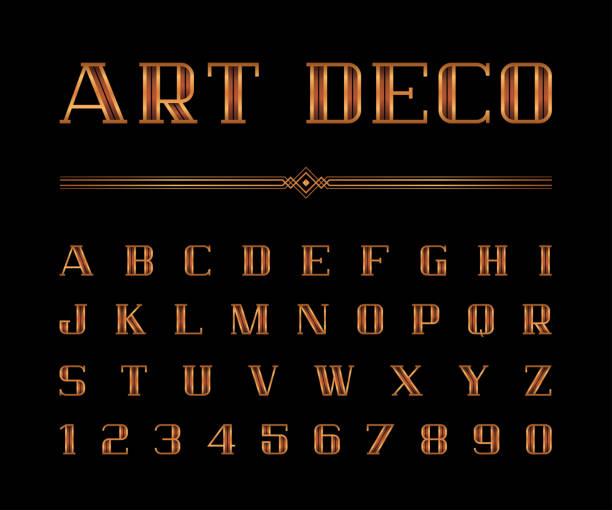 ilustrações, clipart, desenhos animados e ícones de conjunto de vetor da fonte de art deco e alfabeto, letras de ouro. o grande gatsby estilo - fontes e tipografia
