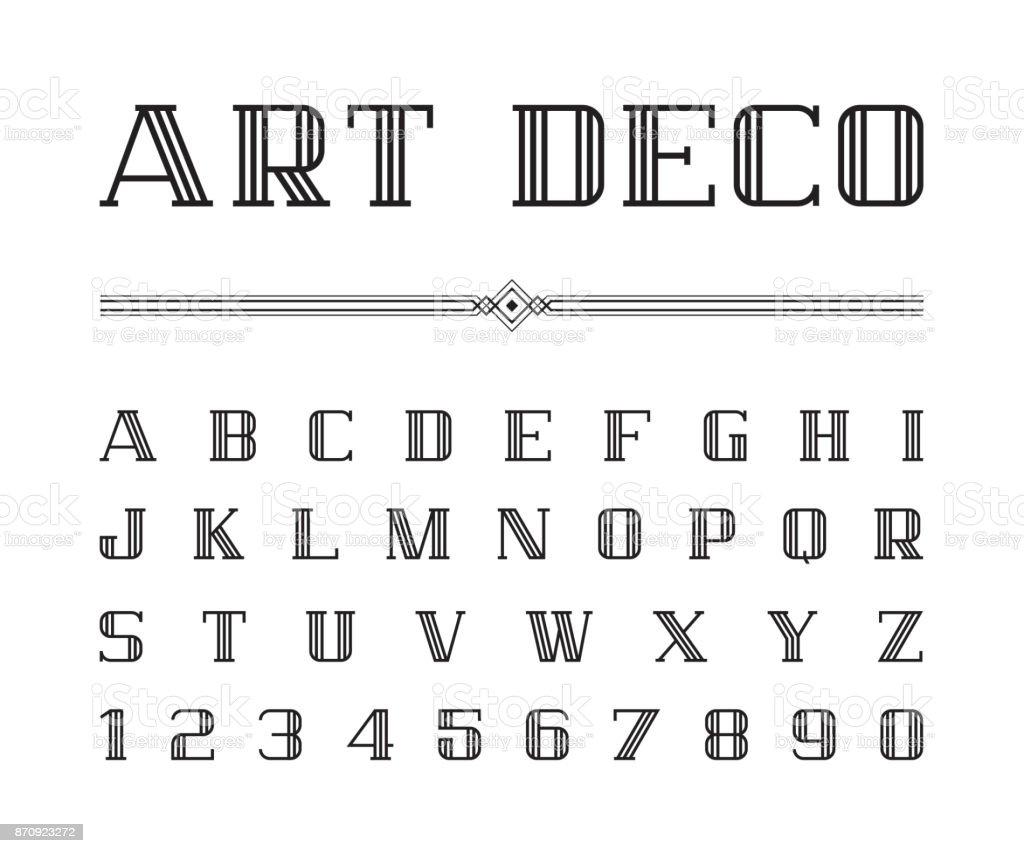 Vetor de Arte Deco font e alfabeto, conjunto de cartas de linha. O grande Gatsby estilo - ilustração de arte em vetor