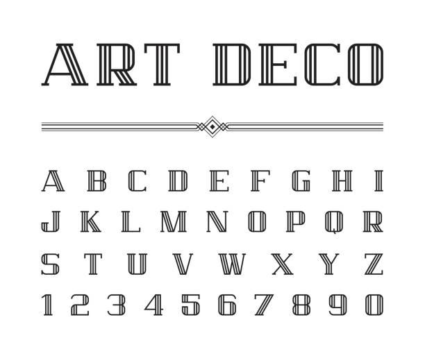 ilustrações, clipart, desenhos animados e ícones de vetor de arte deco font e alfabeto, conjunto de cartas de linha. o grande gatsby estilo - fontes e tipografia