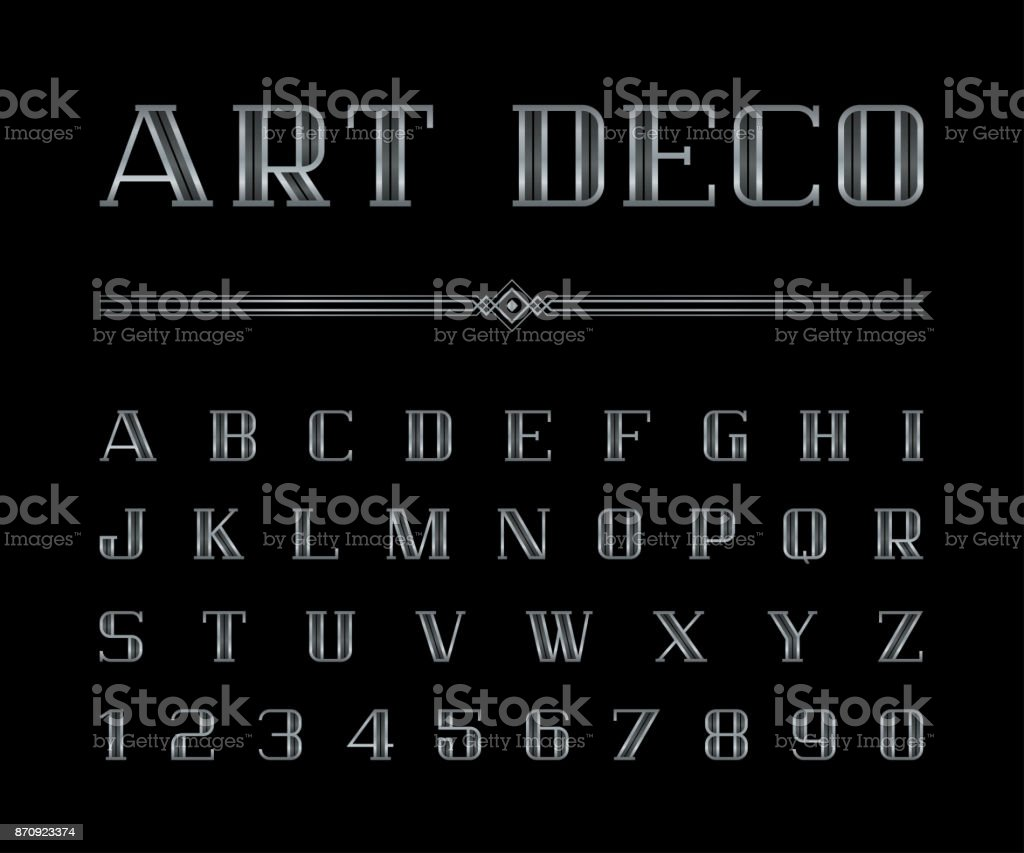 Vetor de Arte Deco font e alfabeto, conjunto de letras prateadas. O grande Gatsby estilo - ilustração de arte em vetor