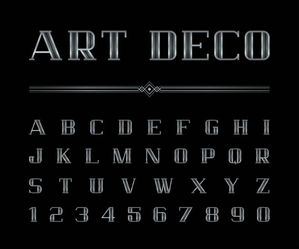 ilustrações, clipart, desenhos animados e ícones de vetor de arte deco font e alfabeto, conjunto de letras prateadas. o grande gatsby estilo - fontes e tipografia