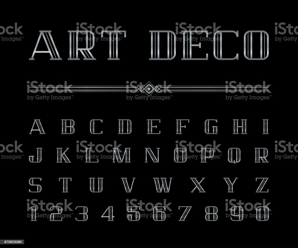 Vector Of Art Deco Font And Alphabet Silver Letters Set The Great